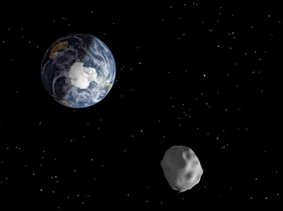 Concepção artística de asteroide prestes a passar de raspão pela Terra (Crédito: Nasa)