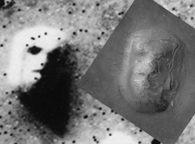A primeira imagem da Viking (1976) e a versão da Mars Global Surveyor (2001). Que face? (Crédito: Nasa)