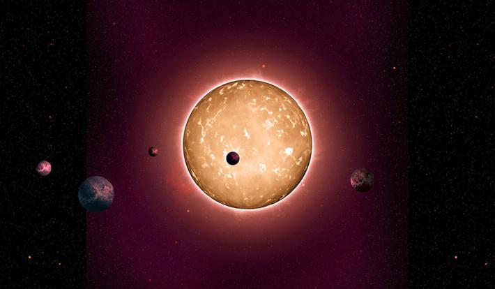 Concepção artística do sistema Kepler-444, o mais antigo já descoberto (Crédito: Universidade de Birmingham)