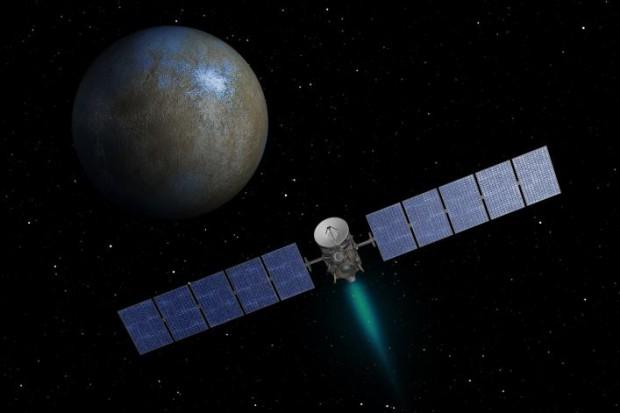 Concepção artística da Dawn se aproximando de Ceres com seus motores iônicos (Crédito: Nasa)