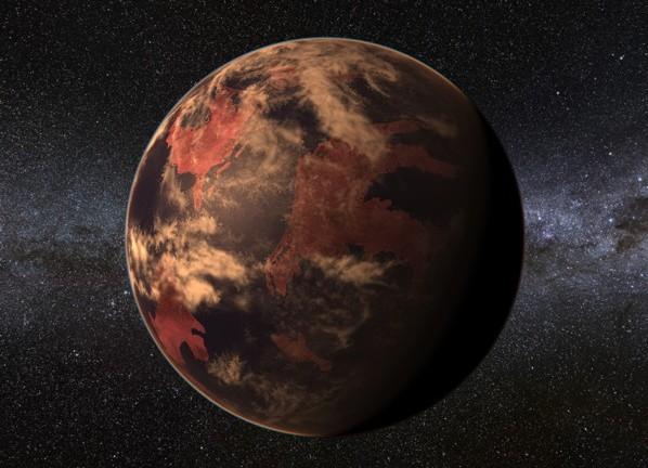 Concepção artística de um planeta habitável em torno de uma estrela anã vermelha, como o recém-descoberto (Crédito: PHL/UPR)