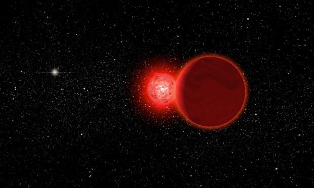 A Estrela de Scholz e sua companheira anã marrom passaram a menos de um ano-luz do Sol (visto ao fundo) há 70 mil anos! (Crédito: Michael Osadciw/University of Rochester)