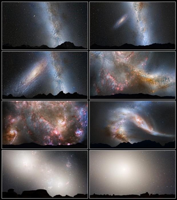 Série de imagens mostra como seria a colisão de Andrômeda com a Via Láctea, vista da Terra. Claro, tome essa perspectiva com um grão de sal, porque a última imagem representa o estado da galáxia em 7 bilhões de anos -- quando a Terra provavelmente já não existirá. (Crédito: Nasa)