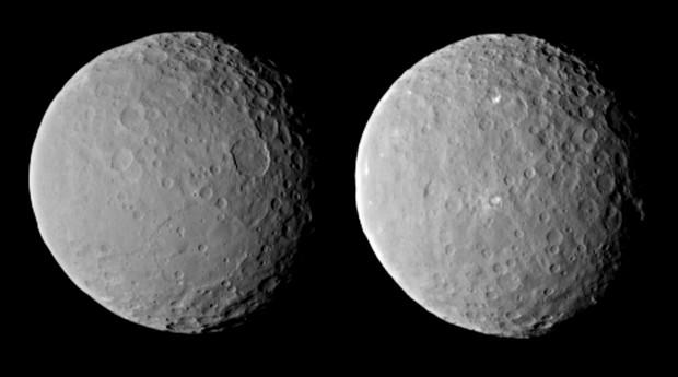 Ceres, por outros dois ângulos, a 46 mil km de distância, fotografado em 19 de fevereiro (Crédito: Nasa)