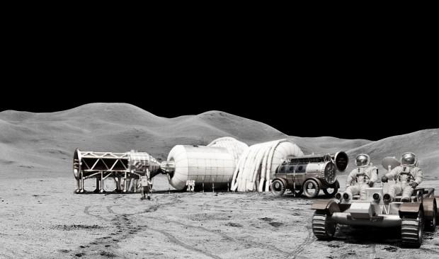Concepção artística de uma base lunar comercial com módulos infláveis (Crédito: Bigelow Aerospace)