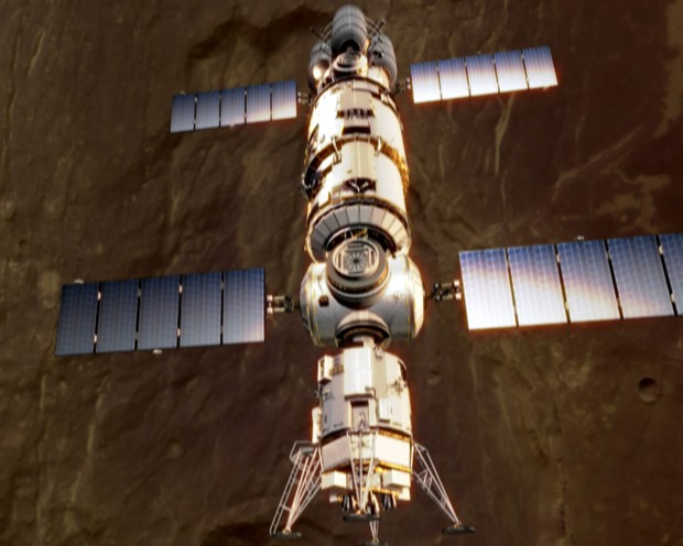 Concepção artística de espaçonave para missão marciana tripulada. (Crédito: ESA)
