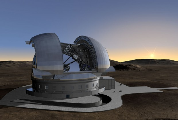 Concepção artística do E-ELT, maior telescópio do mundo, a ser construído pelo ESO (Crédito: ESO)