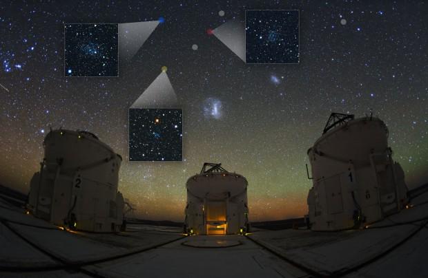 As três maiores galáxias anãs recém-descobertas, e a indicação de outras, próximas às Nuvens de Magalhães (Crédito: V. Belokurov, S. Koposov, Y. Beletsky)
