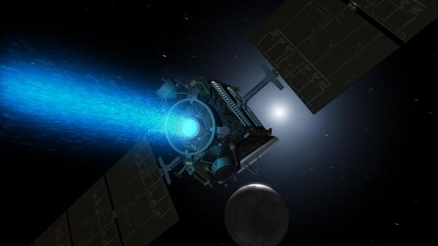 Concepção artística da sonda Dawn se aproximando de Ceres (Crédito: Nasa)