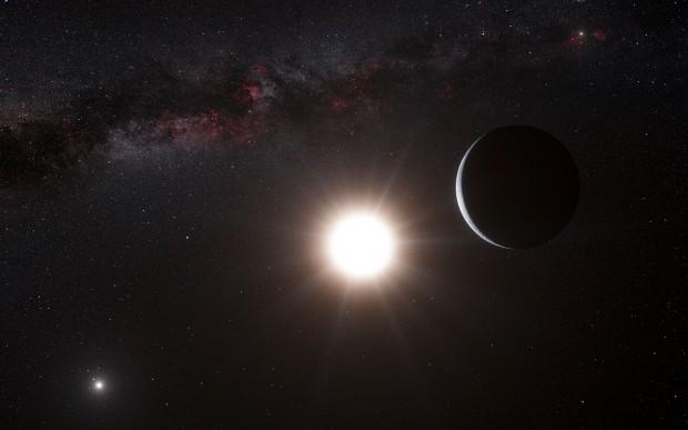 Concepção artística de planeta rochoso em torno de Alfa Centauri B (Crédito: ESO)