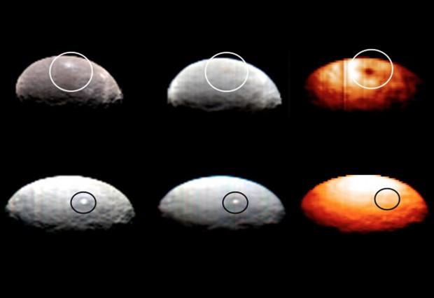 Imagens em cor real, falsa cor e infravermelho. Note como a Mancha 1, acima, é bem mais fria. Já a Mancha 5, embaixo, tem a mesma temperatura do resto do solo. (Crédito: Nasa)