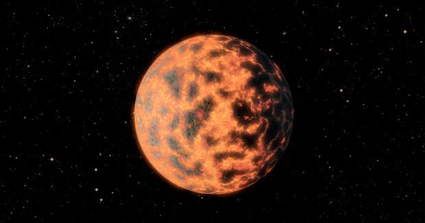 Concepção artística de vulcanismo intenso no planeta 55 Cancri e, a 40 anos-luz da Terra (Crédito: Universidade de Cambridge)