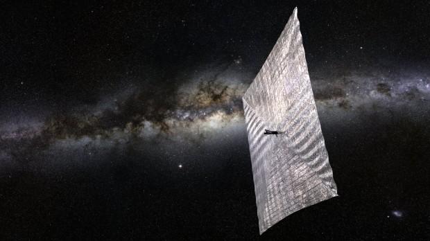 Concepção artística da LightSail-1 no espaço; veleiro solar será lançado na quarta-feira (20) (Crédito: Planetary Society)