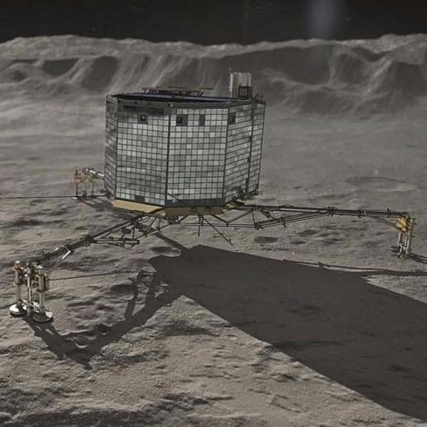Concepção artística do Philae na superfície do cometa. Na verdade, ele caiu num buraco quase sem luz. (Crédito: ESA)