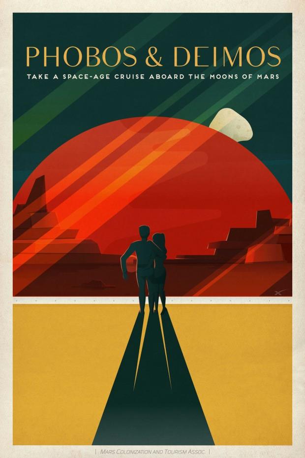 Fobos e Deimos -- talvez um alvo possível, já que a Nasa pensa numa visita a Fobos como prelúdio de um pouso tripulado em Marte (Crédito: SpaceX)
