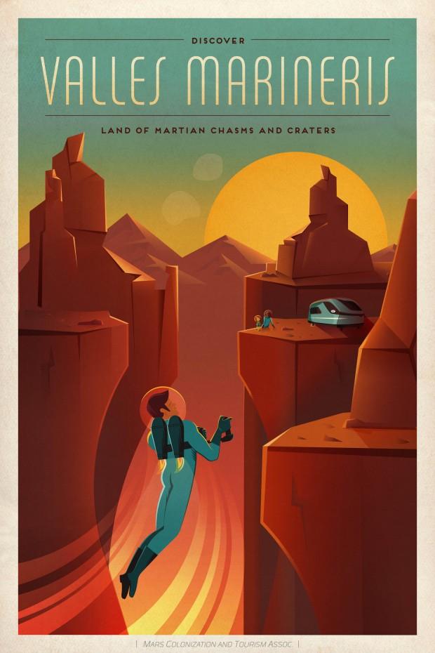 """""""Descubra o Valles Marineris"""", aconselha a Associação de Turismo e Colonização de Marte (Crédito: SpaceX)"""