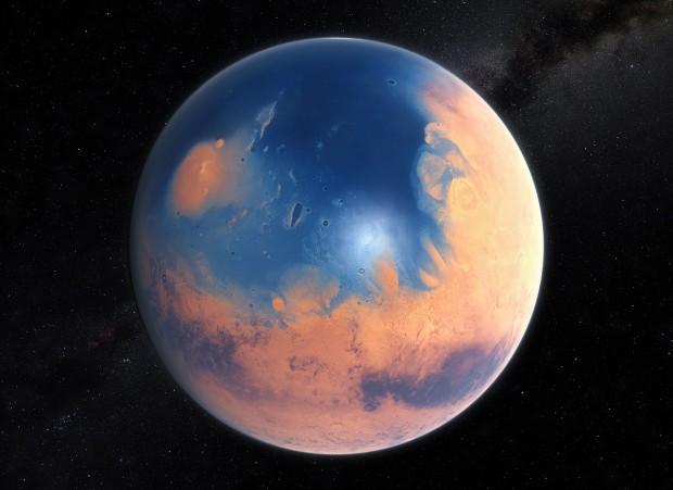 Concepção artística dos oceanos de Marte, 4 bilhões de anos atrás (Crédito: ESO)