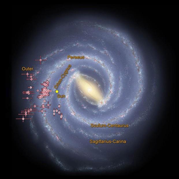 A Via Láctea e a posição de cerca de 100 aglomerados estelares estudados pelo grupo brasileiro. (Crédito: Nasa/JPL-Caltech/UFRGS)