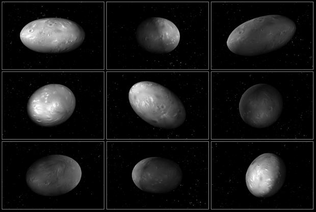 Sequência ilustra (falta de) padrão de rotação esperado em Nix, uma das pequenas luas de Plutão. (Crédito: Nasa)