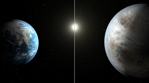 Comparação entre a Terra e o Sol, e Kepler-452b e sua estrela-mãe (Crédito: Nasa)