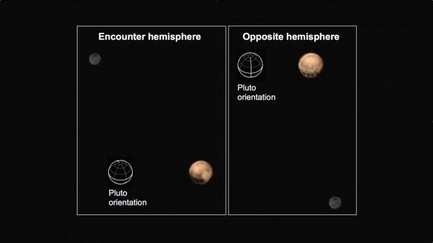 Os dois hemisférios de Plutão e Caronte, a 18 milhões de km de distância. (Crédito: Nasa)