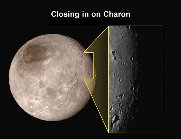 O primeiro zoom sobre Caronte, a maior das luas de Plutão. (Crédito: Nasa)