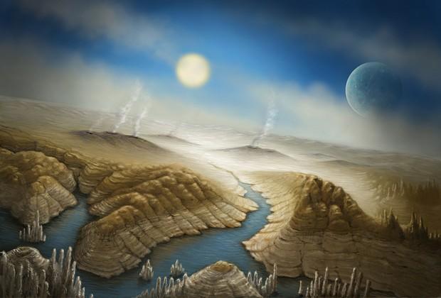 Concepção artística de Kepler-452b, um planeta que pode estar se superaquecendo, algo que aconterá à Terra em mais 1 bilhão de anos (Crédito: SETI Institute)