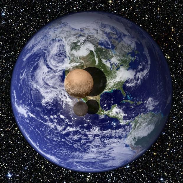 Comparação entre os tamanhos da Terra, de Plutão e de Caronte, com base em imagens da New Horizons (Crédito: Nasa)