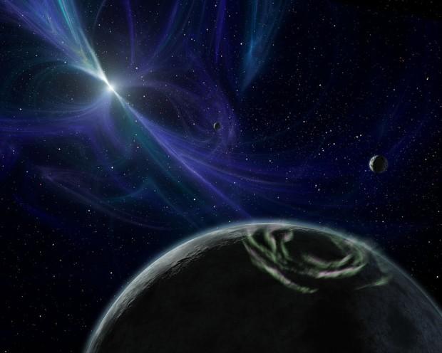 Concepção artística dos planetas ao redor do pulsar PSR-1257+12, que ganharão nome oficial em votação. (Crédito: Nasa/Caltech)