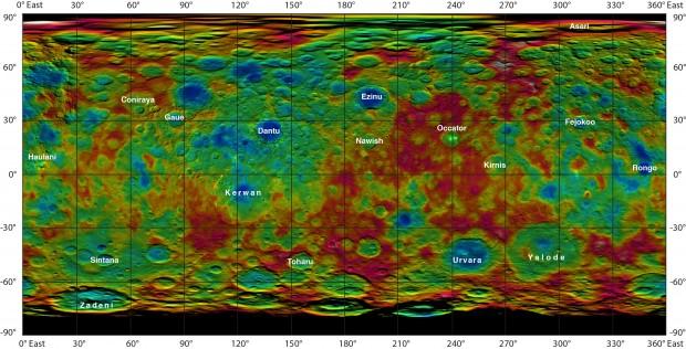 Mapa com os marcos já batizados na superfície de Ceres. As cores indicam altitude (azul é mais baixo, marrom é mais alto). Os pontos brilhantes estão na cratera Occator. (Crédito: Nasa)