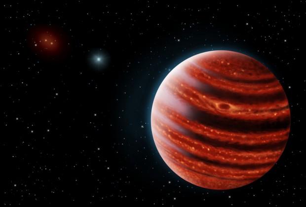 Concepção artística do 51 Eridani b, um planeta com cara de Júpiter e cheiro de Júpiter. Para ver a foto dele de verdade, siga adiante no texto! (Crédito: Seti Institute)