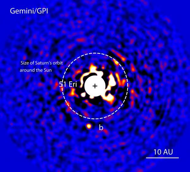 A foto do planeta 51 Eridani b, feita pela GPI (Crédito: GPI)