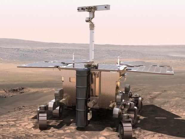 Concepção artística do jipe ExoMars em Marte. (Crédito: ESA)