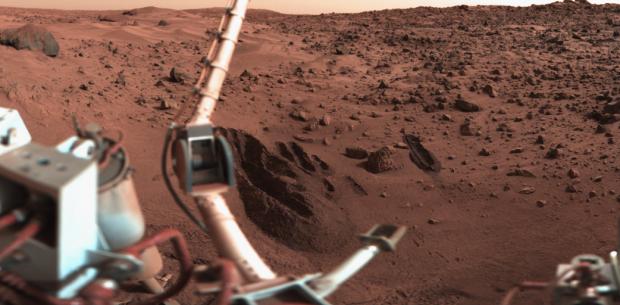 Imagem do módulo de pouso Viking-1, o primeiro a descer em Marte com sucesso. (Crédito: Nasa)