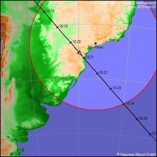 Trajetória da ISS hoje, com horário local (de Brasília) e a indicação de São Paulo no mapa.