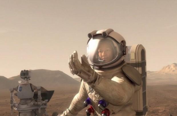 Concepção artística de astronauta explorando a superfície de Marte (Crédito: Nasa)