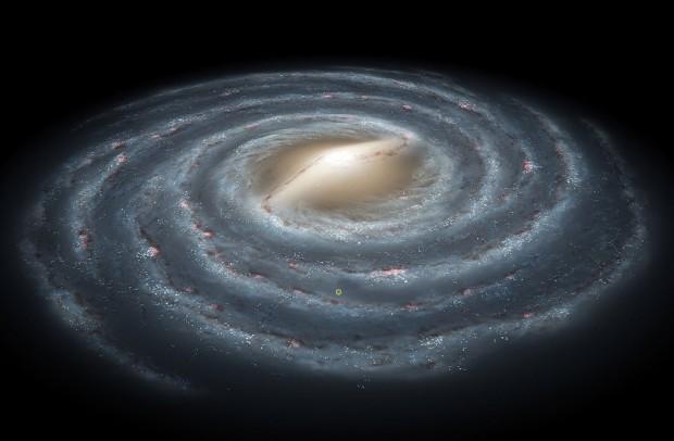 Concepção artística da Via Láctea; o círculo amarelo indica a posição do Sistema Solar. Simulação sugere que há mais propensão para vida inteligente nas regiões mais centrais da galáxia (Crédito: Nasa)