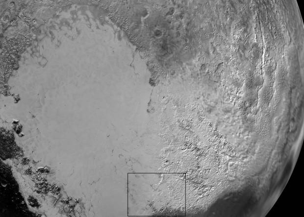Uma visão geral da planície Sputnik, em Plutão (Crédito: Nasa)