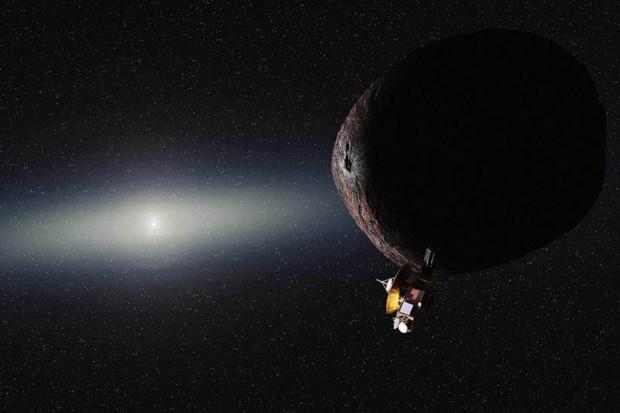 Concepção artística da New Horizons visitando o 2014 MU69, em janeiro de 2019. (Crédito: Nasa)