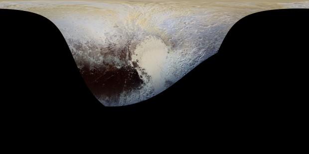 Mapa do hemisfério visível de Plutão durante a aproximação máxima. Se você não clicar na foto, vai se arrepender (Crédito: Nasa)