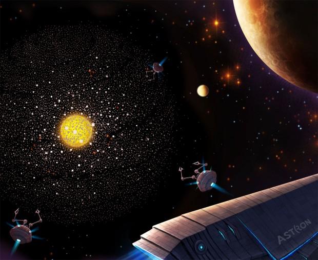 Concepção artística de uma supercivilização encapsulando uma estrela para colher sua energia (Crédito: Astron)