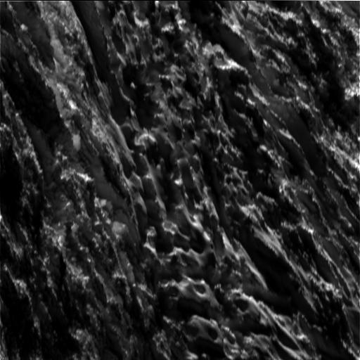 A superfície de Encélado vista pela sonda Cassini a uma distância de dezenas de km (Crédito: Nasa)
