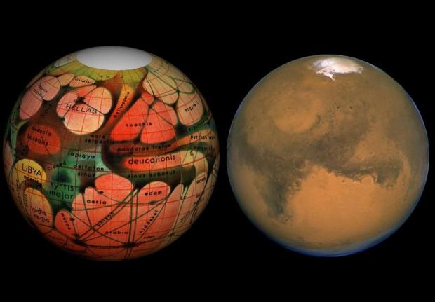 Imagem mostra a visão de Marte no fim do século 19 (esq.), com os famosos (e ilusórios) canais, e uma foto recente feita pelo Hubble (dir.). (Crédito: Nasa)