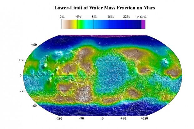 Concentração estimada de gelo de água no primeiro metro de solo marciano, como medido pela Mars Odyssey (Crédito: Nasa)