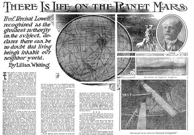 """Reportagem do """"New York Times"""" crava, em 1906: """"Há vida no planeta Marte"""". Seria caso de """"Erramos""""? (Crédito: NYT/Reprodução)"""