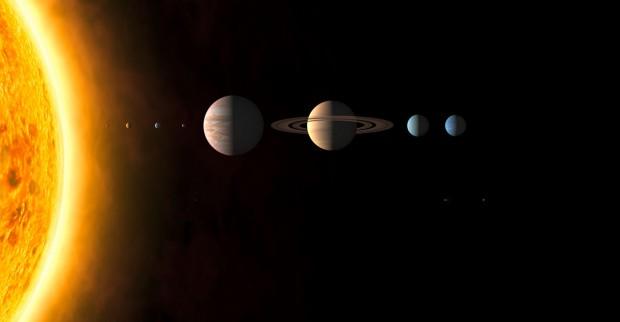 Os planetas do Sistema Solar e, num grupo à parte, os planetas anões Ceres, Plutão e Éris. Não tem um igual ao outro. (Crédito: IAU)