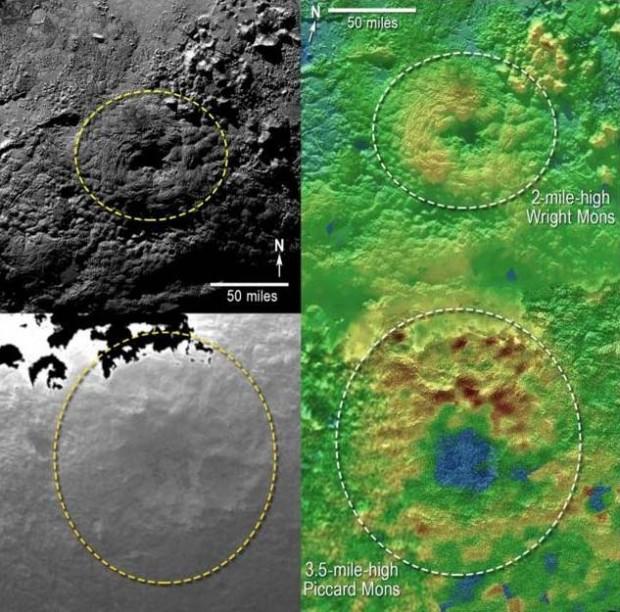 Montanhas vistas ao sul da Sputnik Planum, em Plutão, parecem ter caldeiras, como vulcões. (Crédito: Nasa)