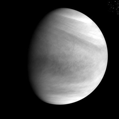 Imagem em ultravioleta de Vênus obtida pela Akatsuki em 7 de dezembro, a 72 mil km de distância. (Crédito: Jaxa)