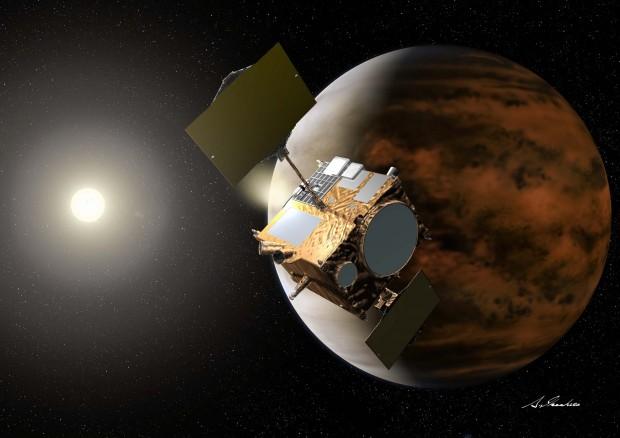 Concepção artística da Akatsuki em órbita de Vênus. Dedos cruzados na segunda-feira! (Crédito: Jaxa)