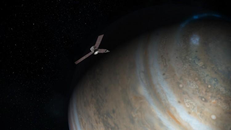 Concepção artística da sonda Juno em órbita de Júpiter (Crédito: Nasa)